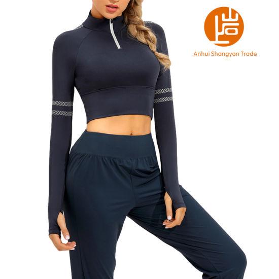 Shangyan Women's Stand Collar Half Zip Lightweight Workout Crop Top