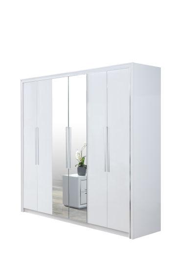 China Bedroom Furniture 6 Door Wardrobe White Modern Style 6 Door Wardrobe With Morror China 6 Door Wardrobe Bedroom Set Wardrobe