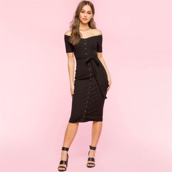 Women Clothes Strapless One Step Dress Elegant Slim Dress Ladies Knitted Dress