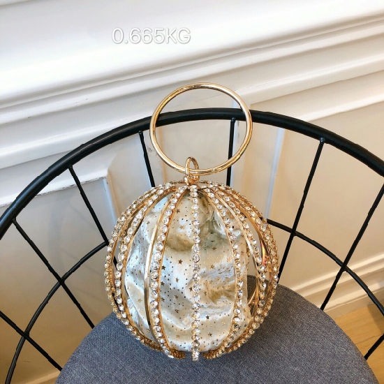 Leb1248 Ladies Evening Party Crystal Stones Clutch Beaded Ball Shaped Purse Pearl Diamond Bag pictures & photos