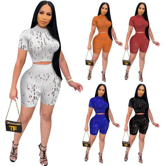New Design Women Clothing Printed Hollow out Two Piece Women Set Bodycon Sporty Outfit