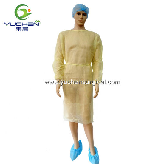 Yellow Disposable PP Nonwoven Isolation Protective Gown