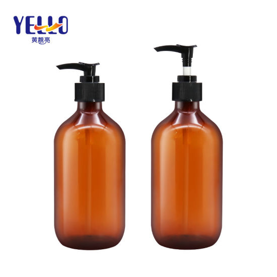 Cosmetic Packaging Plastic Pet Amber 100ml 200ml 300ml 500ml Haircare Shampoo Conditioner Bottles