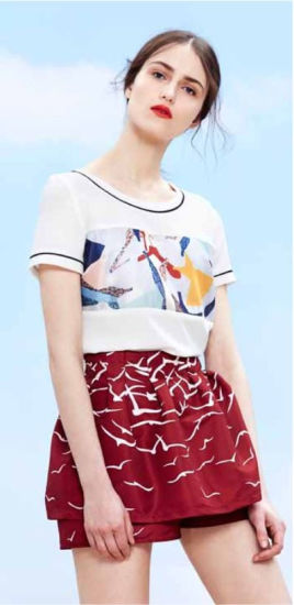Wholesale Stock Women Garment Round Collar Pattern Short Sleeve T-Shirt