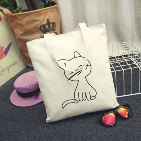 Promotion Foldable Eco Blank Frame Supermarket Cotton Canvas Shopping Bags