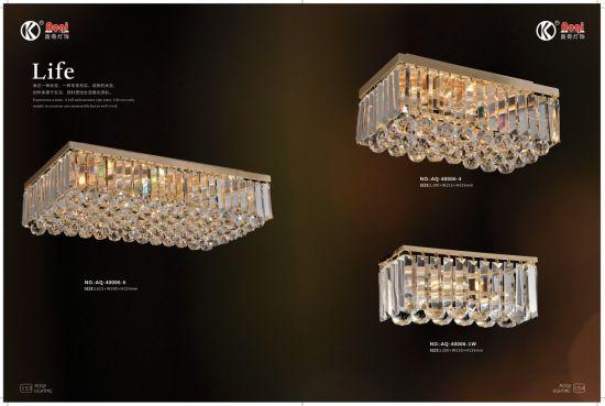 Retangular Golden K9 Crystal Ceiling Light