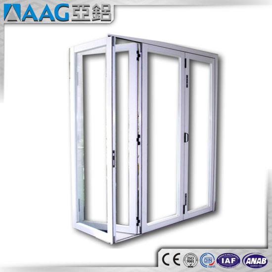 China Double Glazed Anodized Aluminium Exterior Glass Folding Door