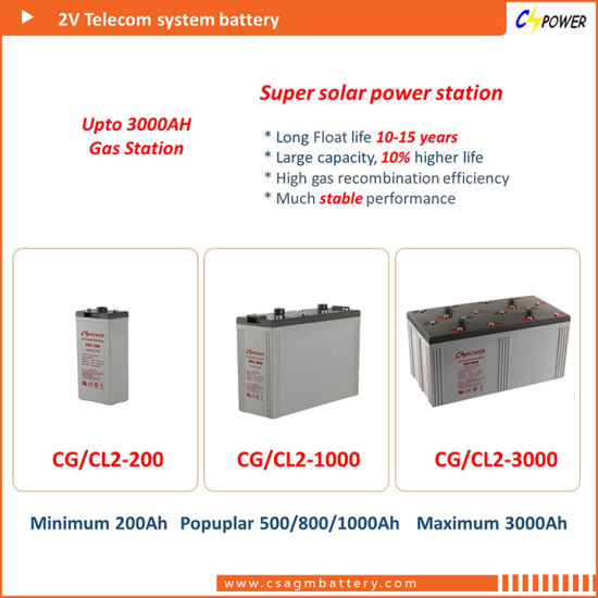 Cspower 2V2000ah Rechargeable Gel Battery - Solar Power System pictures & photos