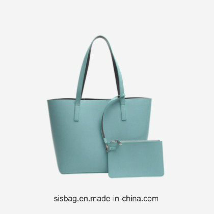 Best Selling Contrast Color PU Tote Bag Leisure Shopping Handbag pictures & photos