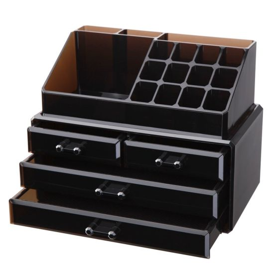 Black Acrylic Jewelry and Makeup Organizer