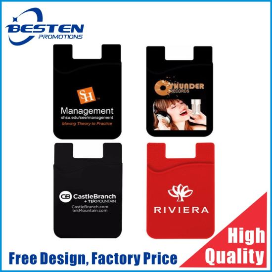 Promotional Smart Card Wallet 3m Sticky Silicone Mobile Phone Holder