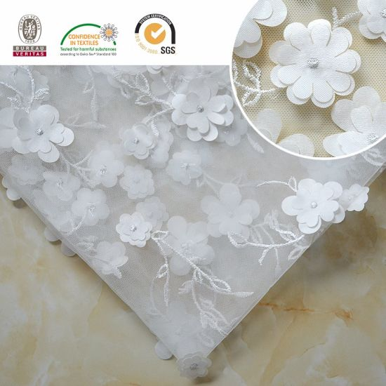 3D Flower Pattern Lace Fabric, Embroidery Garment Accessorize C10020