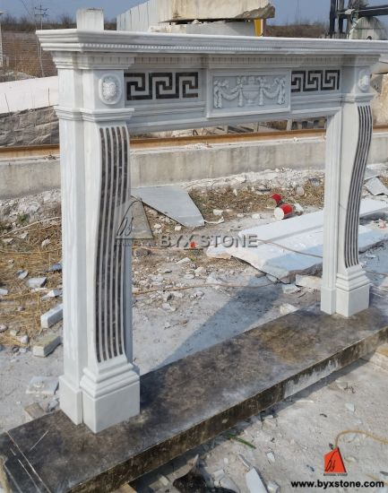 White Marble Carving Indoor Fireplace Mantels Natural Stone Antique Surrounds pictures & photos