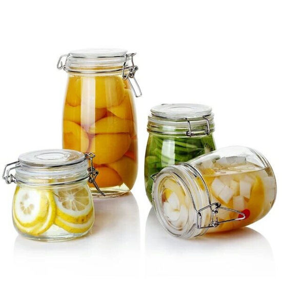 Locking Clamp Clear Glass Food Storage Airtight Home Canister pictures & photos