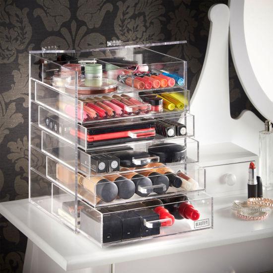 Deluxe Diamond Handle Clear Makeup Organizer