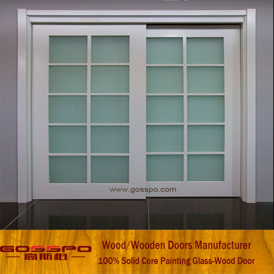 China European White Paint Glass Sliding Wooden Door Gsp3 030