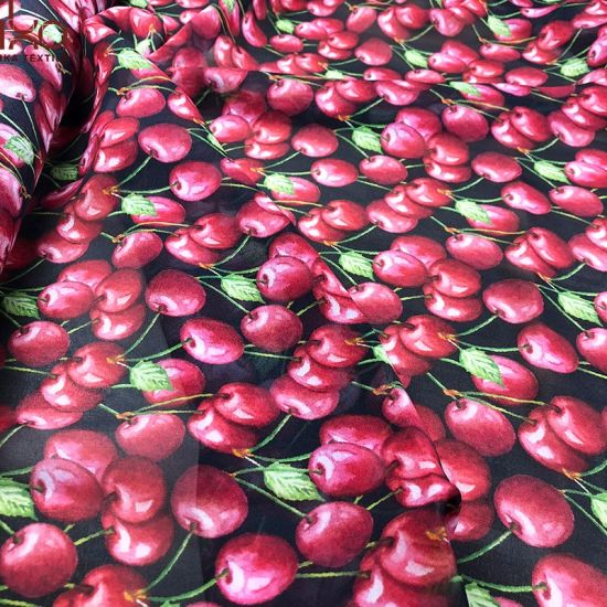 Digital Print Cherry Pattern 100 Silk Chiffon Dress Fabric 8 mm