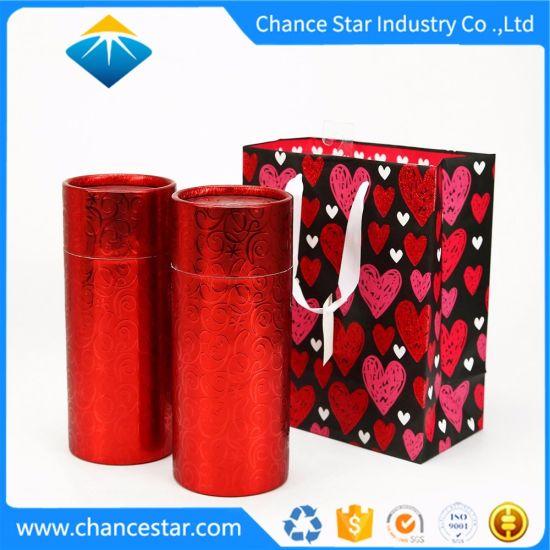 Custom Gift Paper Cardboard Tube Box Set with Paper Bag