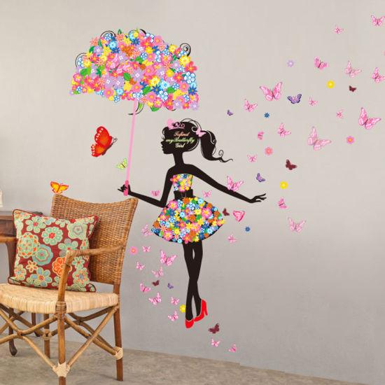 china customized waterproof vinyl umbrella girl wall decals romantic