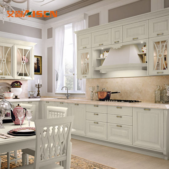 2018 Modern Antique French Style Solid Wood Kitchen Cabinets