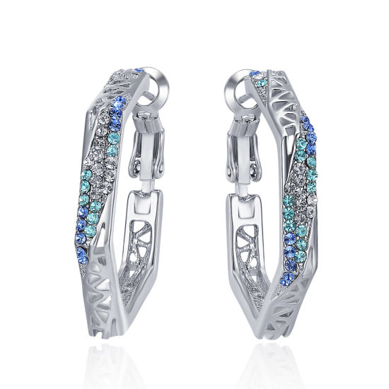 Silver Color Hoop Earrings for Women Girls with Cubic Zirconia