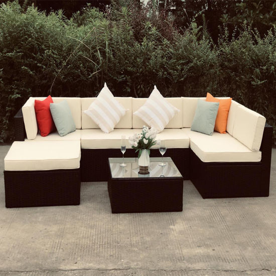 7 Set Detachable Europe Style Outdoor Furniture Wicker Rattan and Garden Patio Sofa Set