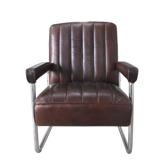 China Vintage Cow Leather Chair Industrial Furniture Loft Style Metal Living Room Chair Furniture China Home Furniture Hotel Furniture
