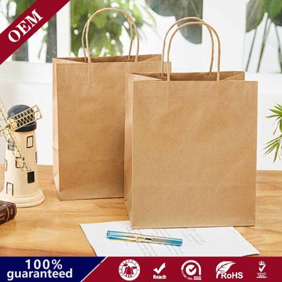 Wholesales Custom Logo Printed Cheap Recycled Take Away Food Packaging Shopping Paper Bag with Twisted/Flat Handles
