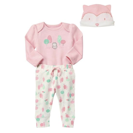 Owl Tree Print Bodysuit Pants Hat Outfit Baby Girl Clothes