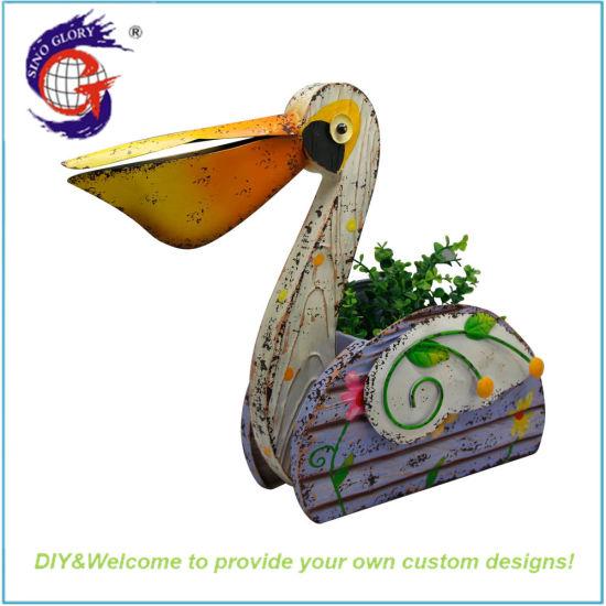 Metal Hand Pelican Flower Pots for Garden Home Decoration