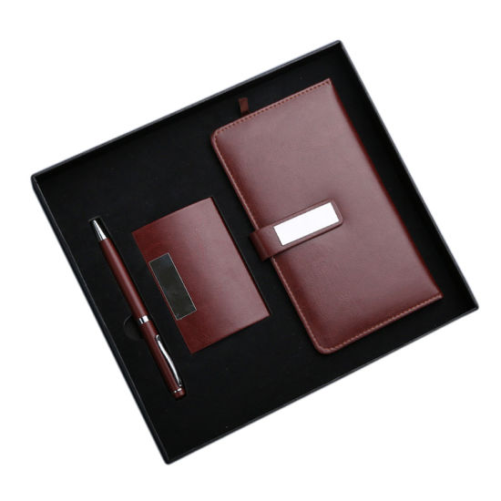 Business Present Leather Name Card Holder A6 Paper Hardcover Notebook Sets with Pen pictures & photos
