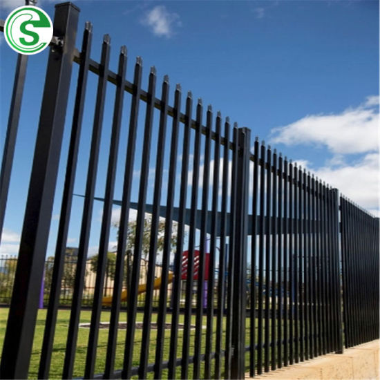 Decorative Metal Fence Ornamental 3 Rail Commercial Fencing