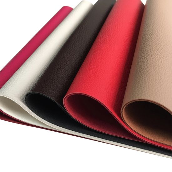 PU Material and Coated Backing Technics Litchi Grain Microfiber Leather