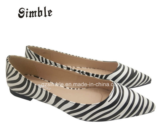 Lady Soft Flat Ballerina Casual Party Shoes with Zebra Print