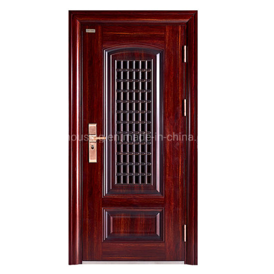 Wooden Color Single Steel Security Door with Metal Screen for Resident Home Zf -Ds-007 pictures & photos