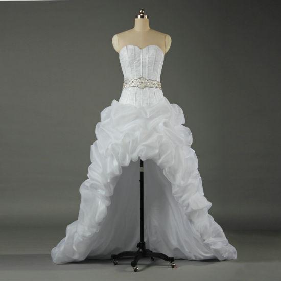 Strapless Organza High Low Wedding Dresses Bridal Dress Ka041