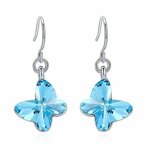 Blue Butterfly Drop Dangle Earrings, Made with Crystals Jewelry Birthday Gift for Women Ladies