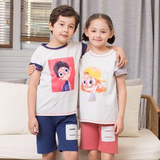 2 Styles Wholesale Sleeping Children Boys Girls T-Shirt Set