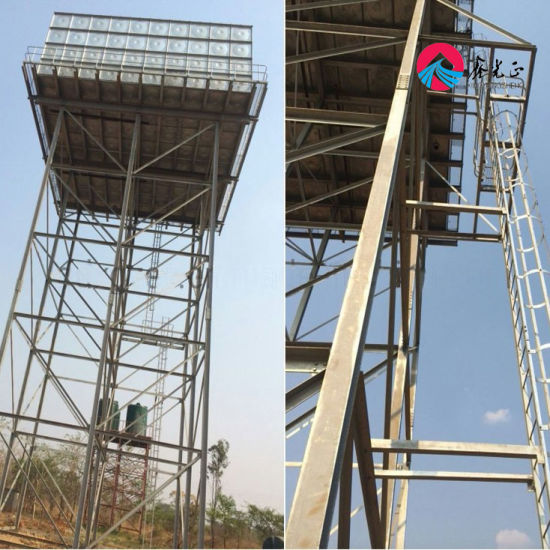 50ton Overhead Hot-Dipped Steel Structure Water Tank & Tower