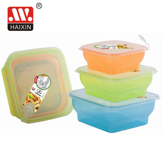 Customized Square Freezer Safe Colorful Plastic Food Containers for Soup Salad with Air Hole 3PCS/Set