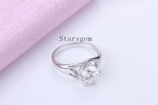 Fashionable 18K White Gold Moissanites Diamond Engagement Wedding Rings Jewelry pictures & photos