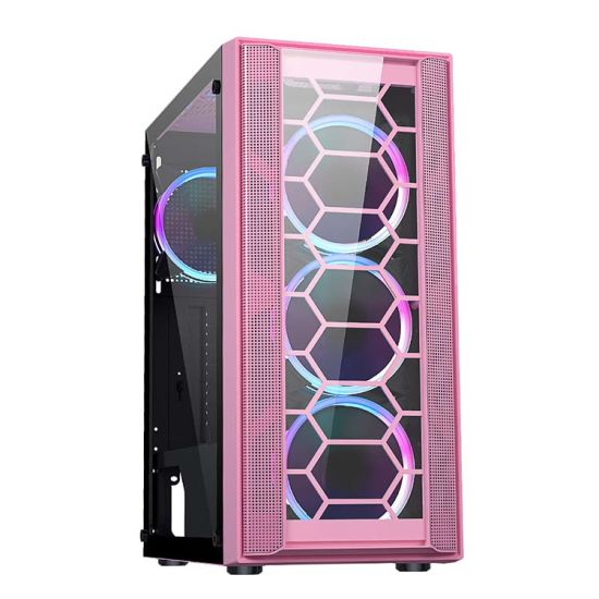 2021 New Style ATX MID-Tower with 3*12cm Argb Fans Temper Glass Gaming PC Computer Case