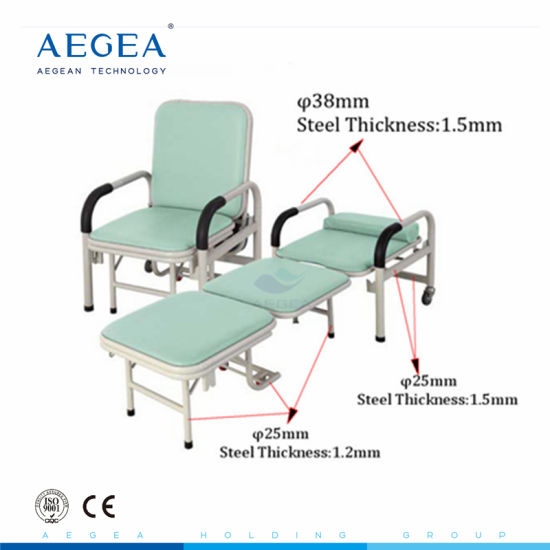 Steel Power Coated Used Hospital Accompany Attendant Chair in Hospital