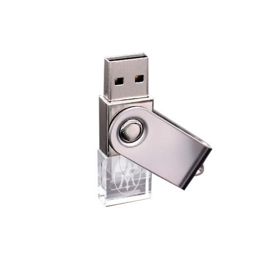 Custom USB 3.0 LED Blue Light 3D Logo Crystal USB Flash Drive/USB Stick