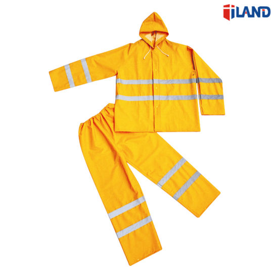 Safety Raincoat Suit for PVC Coating Waterproof Workwear Rain Wear Rainwear with Reflective Tape pictures & photos