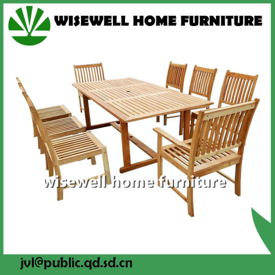 China Oak Wood Garden Furniture Set with 8 Chairs (W-9S-0621 ...