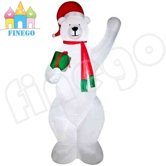 large lowes outdoor white polar bear christmas inflatable yard decoration