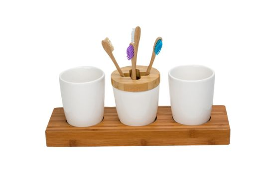 Bamboo & Ceramic Bathroom Accessory Set pictures & photos
