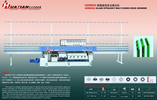 9 Motors Flat Glass Straight Line Polishing Machine