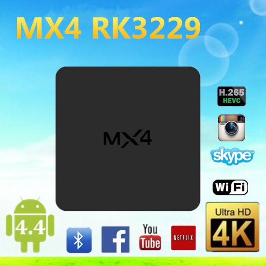 China Original Mx4 Rk3229 Bluetooth 4k Kodi Preinstalled Android 4 4